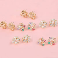 Rhinestone Earring, Zinc Alloy, stainless steel earring post and Omega clip, Flower, gold color plated, with Czech rhinestone, more colors for choice, nickel, lead & cadmium free, 18x18mm, 10Pairs/Lot, Sold By Lot