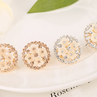 Rhinestone Earring, Zinc Alloy, with Resin, stainless steel earring post and Omega clip, Flower, gold color plated, with Czech rhinestone, more colors for choice, nickel, lead & cadmium free, 20x20mm, 10Pairs/Lot, Sold By Lot