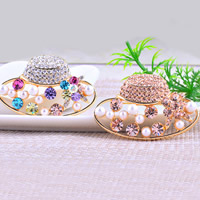 Rhinestone Brooch, Zinc Alloy, with Glass Pearl, Hat, gold color plated, with Czech rhinestone, more colors for choice, nickel, lead & cadmium free, 47x30mm, 10PCs/Lot, Sold By Lot