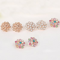 Zinc Alloy Clip Earring, stainless steel earring clip, Flower, gold color plated, with Czech rhinestone, more colors for choice, nickel, lead & cadmium free, 21mm, 10Pairs/Lot, Sold By Lot
