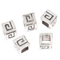 Zinc Alloy Jewelry Beads Cube antique silver color plated lead   cadmium free 4mm Hole:Approx 2mm Approx 450PCs/Bag