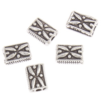 Zinc Alloy Jewelry Beads Rectangle antique silver color plated lead   cadmium free 7x5x3mm Hole:Approx 1mm Approx 250PCs/Bag