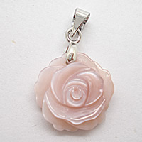 Wisiorki z naturanej różowej muszli, Muszla różowa, ze mosiądz kaucją, Kwiat, Naturalne, 15mm, otwór:około 2-4mm, 3komputery/torba, sprzedane przez torba