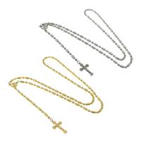 Четки Ожерелье, нержавеющая сталь, Инсус крест, Другое покрытие, мяч цепь, Много цветов для выбора, 2mm, 18x30x2mm, длина:Приблизительно 25.5 дюймовый, 10пряди/Лот, продается Лот
