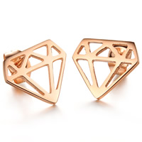 Titanium Steel Stud Earring, Diamond Shape, rose gold color plated, 13x11mm, 3Pairs/Bag, Sold By Bag