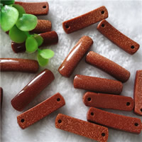 Goldstone Connector, Rectangle, natural, 1/1 loop, 10x35mm, Hole:Approx 2mm, 10PCs/Bag, Sold By Bag
