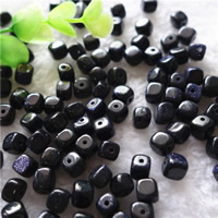 Natural Blue Goldstone Beads, Cube, 7mm, Hole:Approx 1mm, 30PCs/Bag, Sold By Bag