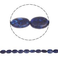 Synthetische Lapis Kraal, Ovaal, 18x14x7mm, Gat:Ca 2mm, Ca 22pC's/Strand, Per verkocht Ca 15.5 inch Strand