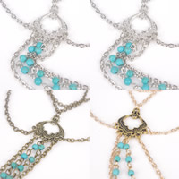 Zinc Alloy Armlet, with iron chain & Turquoise, with 5cm extender chain, plated, oval chain & 3-strand, more colors for choice, nickel, lead & cadmium free, 260mm, Length:Approx 10 Inch, 3Strands/Bag, Sold By Bag