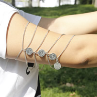 Zinc Alloy Armlet, with 10cm extender chain, silver color plated, twist oval chain & 5-strand, nickel, lead & cadmium free, 260mm, Length:Approx 10 Inch, 3Strands/Bag, Sold By Bag