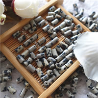 Natural Dalmatian Beads, Column, 4x6mm, Hole:Approx 1mm, 50PCs/Bag, Sold By Bag