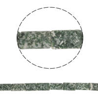Green Spot Stone Kraal, Rechthoek, natuurlijk, 20x13x5mm, Gat:Ca 1.5mm, Ca 20pC's/Strand, Per verkocht Ca 16.5 inch Strand