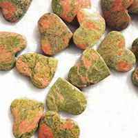 Natural Unakite Beads, Heart, no hole, 25x35mm, 5PCs/Bag, Sold By Bag