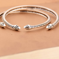 Zinc Alloy Cuff Bangle, Snake, antique silver color plated, nickel, lead & cadmium free, 53mm, Inner Diameter:Approx 53mm, Length:Approx 6.5 Inch, 3PCs/Bag, Sold By Bag