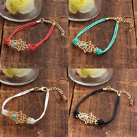 Hamsa Bracelets, Zinc Alloy, with PU & Turquoise, with 5cm extender chain, gold color plated, more colors for choice, nickel, lead & cadmium free, 170mm, Length:Approx 6.5 Inch, 3Strands/Bag, Sold By Bag