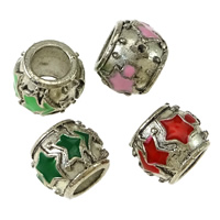 Zinc Alloy European Beads Setting, Drum, silver color plated, without troll & enamel & blacken, more colors for choice, nickel, lead & cadmium free, 8x9.50mm, Hole:Approx 5mm, Inner Diameter:Approx 1mm, 200PCs/Lot, Sold By Lot