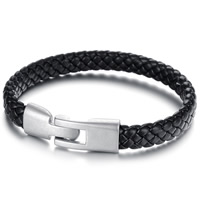 PU Cord Bracelets, Titanium Steel, with PU, original color, 9mm, Length:Approx 8 Inch, 3Strands/Bag, Sold By Bag