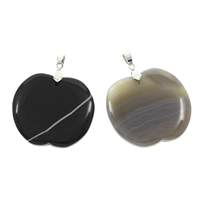 Lace Agate Pendants, with iron bail, Apple, platinum color plated, more colors for choice, 41x45x7mm-45x48x5mm, Hole:Approx 4x6mm, 10PCs/Bag, Sold By Bag