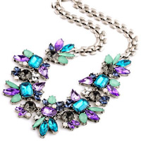 Fashion Statement Necklace Zinc Alloy with iron chain   Acrylic with 5cm extender chain antique silver color plated faceted   with rhinestone nickel lead   cadmium free 450mm Sold Per Approx 17.5 Inch Strand