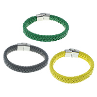 Cowhide Bracelet, stainless steel clasp, braided, more colors for choice, 12.5mm, 25x18x8mm, Length:Approx 8.5 Inch, 5Strands/Lot, Sold By Lot
