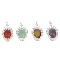 Gemstone Pendants Jewelry Brass with Gemstone Flat Oval platinum color plated natural   different materials for choice   micro pave cubic zirconia nickel lead   cadmium free 25x40x11mm Hole:Approx 4x2mm