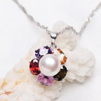 Freshwater Pearl Pendants, with Brass, Flower, silver color plated, natural & with cubic zirconia, white, 16x16mm, 9-10mm, Hole:Approx 2-5mm, Sold By PC