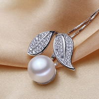 Freshwater Pearl Pendants, with Brass, Leaf, silver color plated, natural & micro pave cubic zirconia, white, 11-12mm, Hole:Approx 2-5mm, Sold By PC