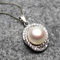 Freshwater Pearl Pendants, with Brass, Button, silver color plated, natural & micro pave cubic zirconia, white, 11-12mm, Hole:Approx 2-5mm, Sold By PC