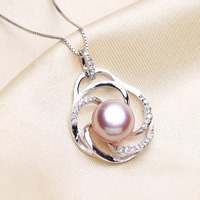 Freshwater Pearl Pendants with Brass Flower silver color plated natural   micro pave cubic zirconia purple 10-11mm Hole:Approx 2-5mm
