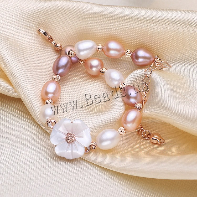 Freshwater cultured pearl bracelet freshwater pearl with for Natural multi colored roses
