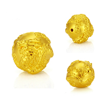 24K Gold Beads, Round, different size for choice, Hole:Approx 2.5mm, Sold By PC