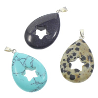 Mixed Gemstone Pendants, with brass bail, natural, 22x36x6mm, Hole:Approx 5x3mm, 12PCs/Box, Sold By Box