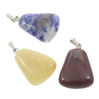 Mixed Gemstone Pendants, with brass bail, natural, 17x25x6mm, Hole:Approx 5x2mm, 12PCs/Box, Sold By Box
