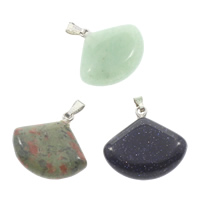 Mixed Gemstone Pendants, with brass bail, natural, 22x20x6mm, Hole:Approx 5x2mm, 12PCs/Box, Sold By Box