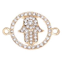 Hamsa Zinc Alloy Connector, rose gold color plated, Islamic jewelry & with rhinestone & 1/1 loop, clear, lead & cadmium free, 30x21x2mm, Hole:Approx 2mm, 10PCs/Bag, Sold By Bag