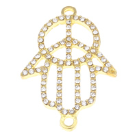 Hamsa Zinc Alloy Connector, gold color plated, Islamic jewelry & with rhinestone & 1/1 loop, clear, lead & cadmium free, 26x39x3mm, Hole:Approx 2mm, 10PCs/Bag, Sold By Bag