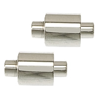 Stainless Steel Magnetic Clasp, Column, original color, 14x8mm, Hole:Approx 2mm, 10PCs/Lot, Sold By Lot