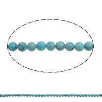 Ontruiming Turquoise kralen, Synthetische Turquoise, Ronde, 4mm, Gat:Ca 1mm, Ca 100pC's/Strand, Per verkocht Ca 15.7 inch Strand
