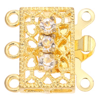 Zinc Alloy Box Clasp, Rectangle, gold color plated, 3-strand & with rhinestone, lead & cadmium free, 17x16x6mm, Hole:Approx 1.5mm, 10PCs/Bag, Sold By Bag