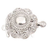 Zinc Alloy Box Clasp, Flower, platinum color plated, single-strand, lead & cadmium free, 20x15x9mm, Hole:Approx 1mm, 10PCs/Bag, Sold By Bag