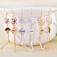 Brass Drop Earring, word love, plated, enamel & with cubic zirconia, more colors for choice, nickel, lead & cadmium free, 16x88mm, 10Pairs/Lot, Sold By Lot