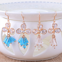 Crystal Earrings, Zinc Alloy, with Crystal, stainless steel earring hook, Flower, plated, with cubic zirconia, more colors for choice, nickel, lead & cadmium free, 21x51mm, 10Pairs/Lot, Sold By Lot