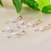 Crystal Earrings, Brass, with rubber earnut & Crystal, sterling silver post pin, plated, with Czech rhinestone, more colors for choice, nickel, lead & cadmium free, 8x45mm, 10Pairs/Lot, Sold By Lot