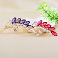 Crystal Brooch, Zinc Alloy, with Crystal, Wheat, gold color plated, with Czech rhinestone, more colors for choice, nickel, lead & cadmium free, 68x32mm, 10PCs/Lot, Sold By Lot