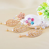 Rhinestone Brooch, Zinc Alloy, Flower, gold color plated, with Czech rhinestone, more colors for choice, nickel, lead & cadmium free, 66x25mm, 10PCs/Lot, Sold By Lot