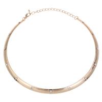 Ожерелья из металла, Железо, Кольцевая форма, KC Золотой цвет покрытием, со стразами, не содержит свинец и кадмий, 140x125x4mm, Продан через Приблизительно 16 дюймовый Strand