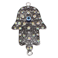Hamsa Zinc Alloy Connector, with Lampwork, Evil Eye Hamsa, antique silver color plated, Islamic jewelry & with rhinestone & 1/1 loop, lead & cadmium free, 58x98x7mm, Hole:Approx 5mm, Sold By PC