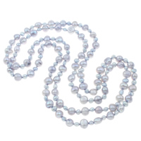Natural Freshwater Pearl Long Necklace, Baroque, 2-strand, grey, 5-6mm,9-10mm, Sold Per Approx 48 Inch Strand