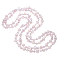 Natural Freshwater Pearl Long Necklace, Baroque, 2-strand, purple, 5-6mm,9-10mm, Sold Per Approx 48 Inch Strand