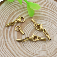 Stainless Steel Lobster Claw Cord Clasp, real gold plated, with end cap, 6.5x2.5x2mm, 24mm, Hole:Approx 1.5mm, 10Sets/Lot, Sold By Lot
